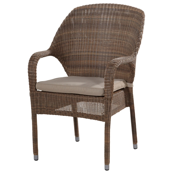 4 Seasons Sussex Stackable Chair w/cushions - Poly. Taupe