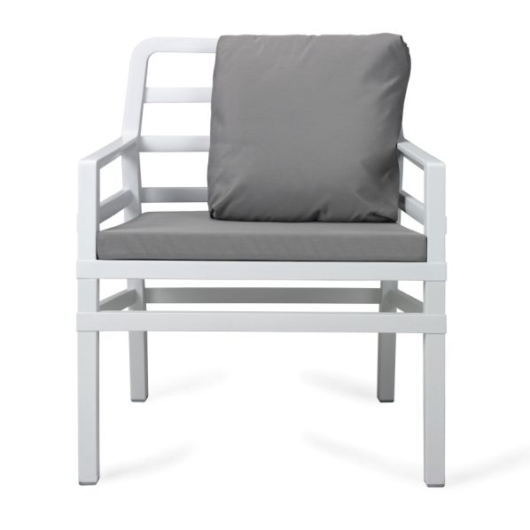 Jofix Aria White Arm Chair w/ grey cusion