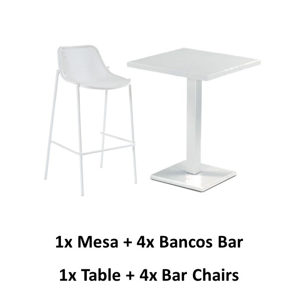 Emu Set Round Bar Table + 4x Bar Chair - White