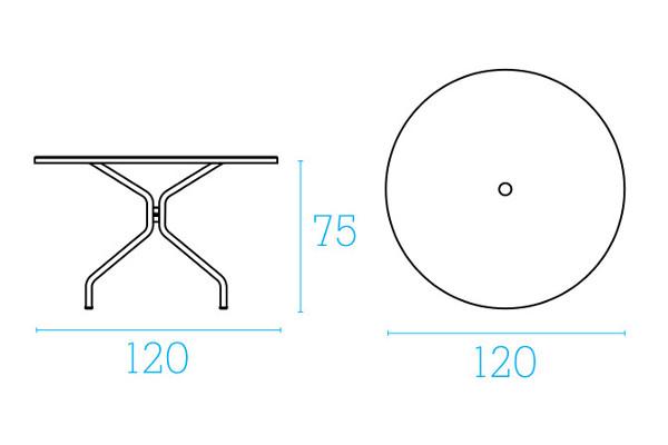 Emu Set Cambi Table 120 ø + 4x Rondas - Antracite