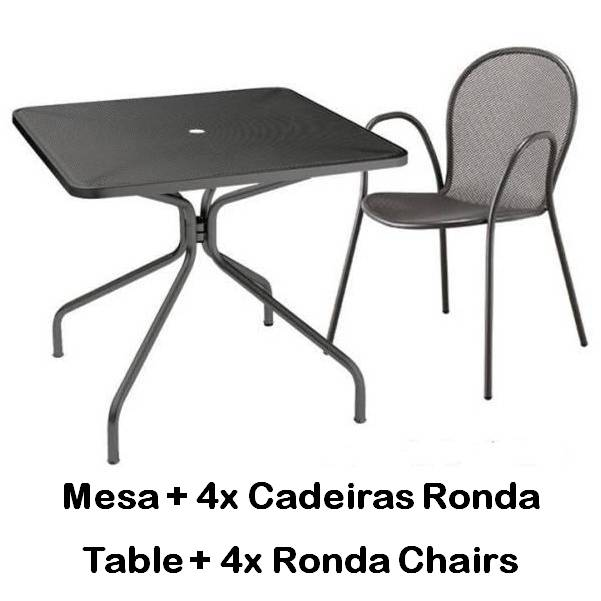 Emu Set Cambi Table 90x90 + 4x Rondas - Antracite