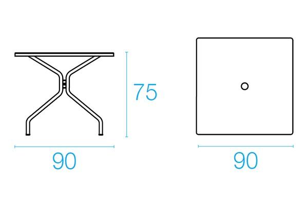 Emu Set Cambi Table 90x90 + 4x Rondas - Antracite