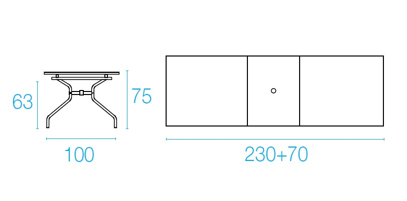 Emu ATHENA Mesa Extensivel 230x70x100 - Ferro Antigo