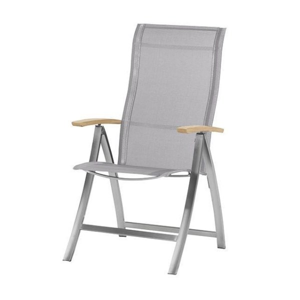 4 Seasons Slimm Adjust. chair stain. Steel Teak arm-Ashgrey