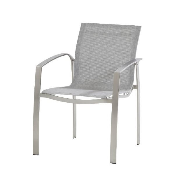 4 Seasons Summit Stainless Steel dining Chair - Ash Grey Tex