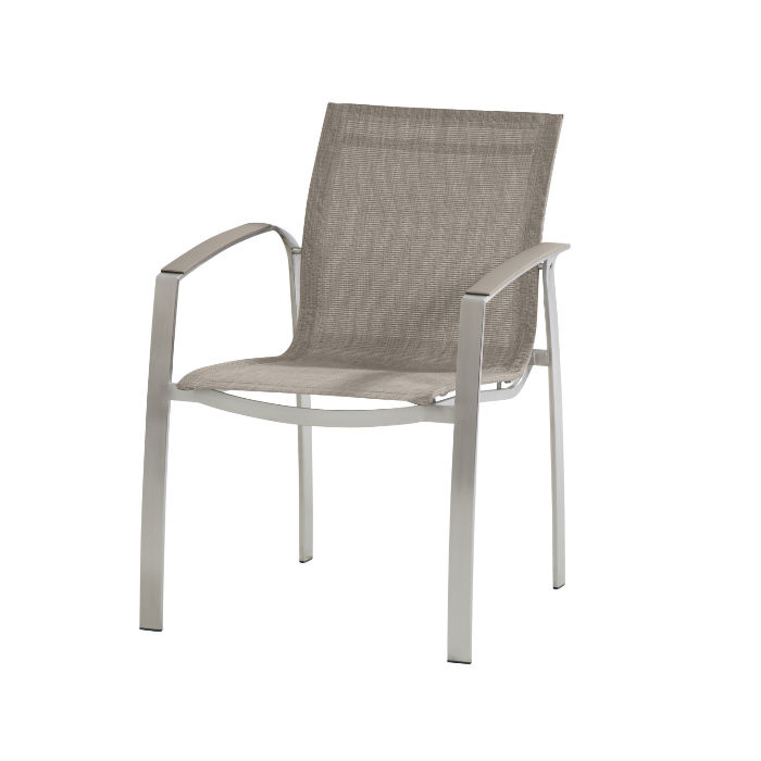 4 Seasons Summit Stainless Steel dining Chair - Mocca Tex