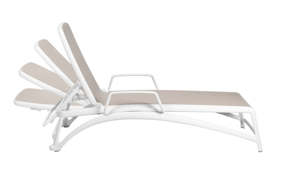 Jofix Atlantico Espreguiçadeira c/ Braço Branco - Tortora
