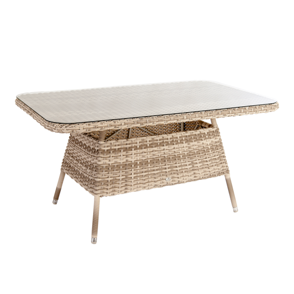 AL.Rose kool Casual Table 150x90 w/ glass - Pearl