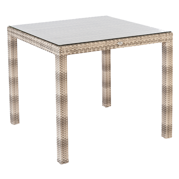 AL.Rose Ocean Fiji Table 80x80 w/glass - Pearl