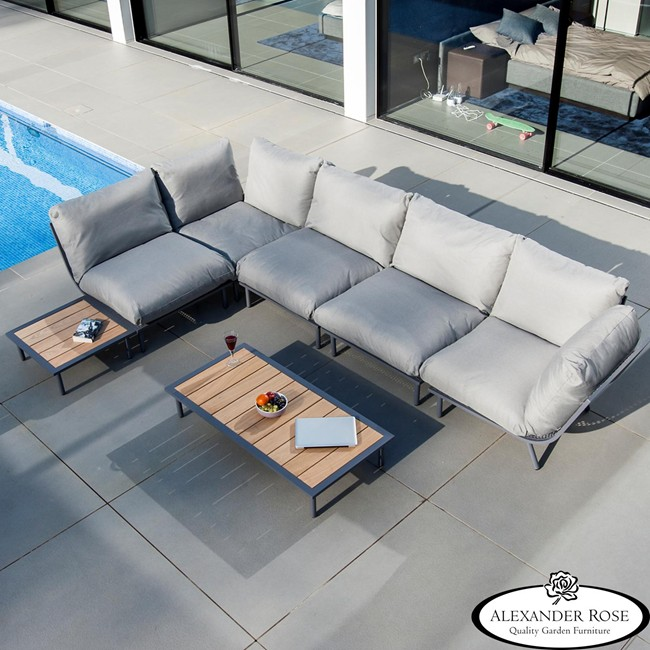 AL.Rose Beach Lounge Mesa Centro 122x70 - Shell / Alum.