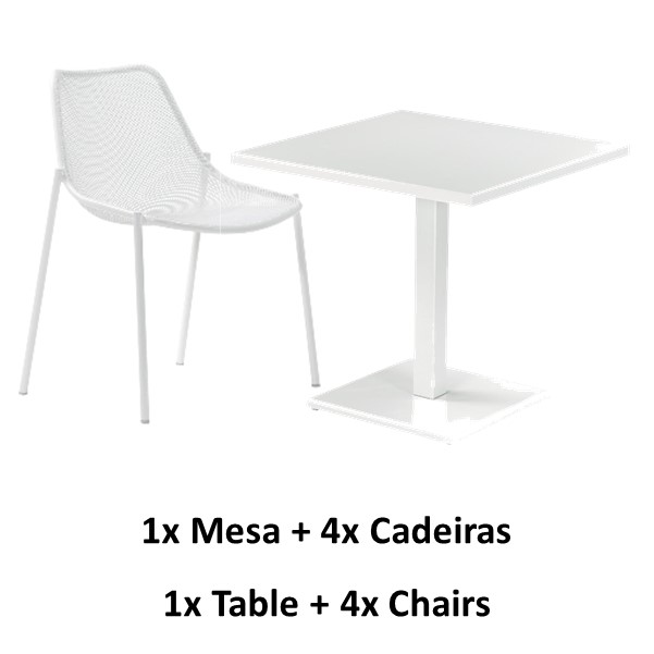 Emu Set Round Table 80x80 + 4x Living Chairs - White