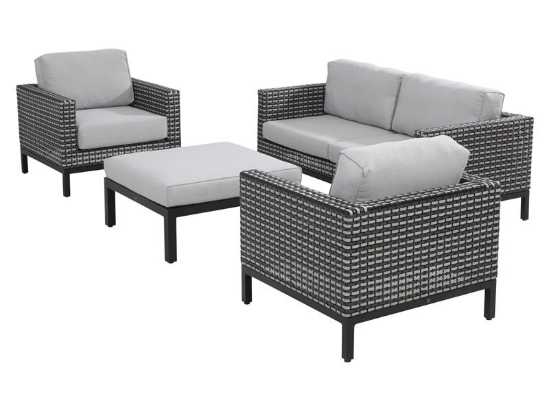 4 Seasons Dias Sofa 2.5 Seaters w/ 4 Cushions - Black Pepper