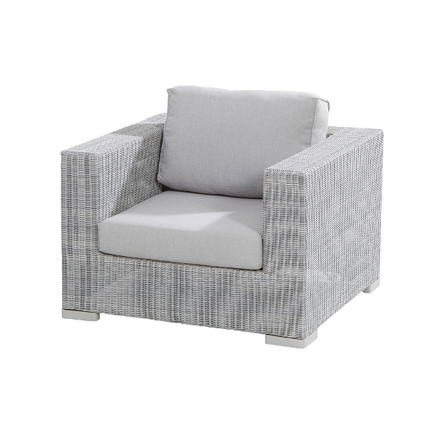 4 Seasons Lucca Living Chair w/ 2 Cushions - Polyloom Ice