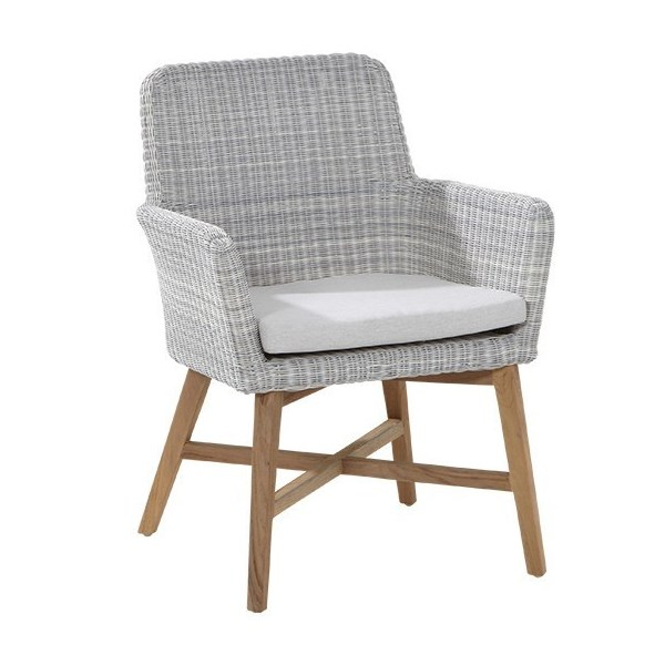 4 Seasons Lisboa Chair in Teka W/ Cushion - Polyloom Ice