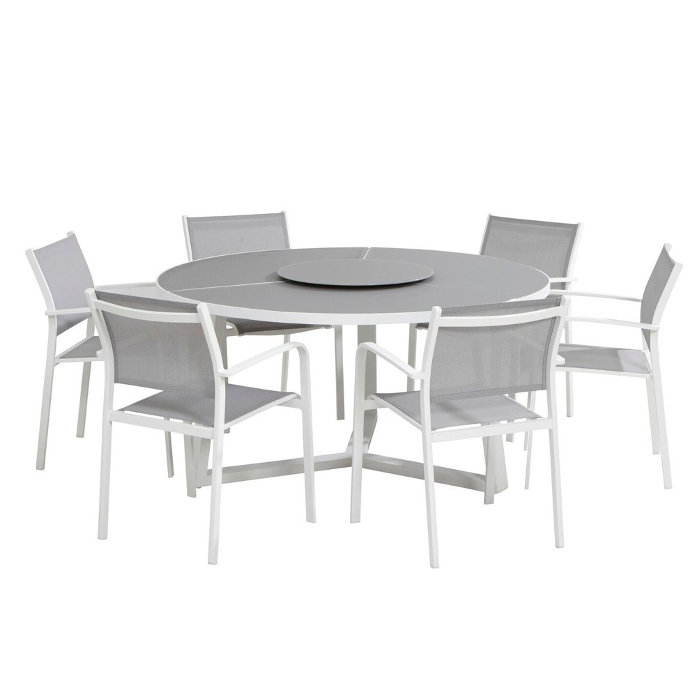 Taste  Organic  Table 150 Ø W/ Lazy Susan - White