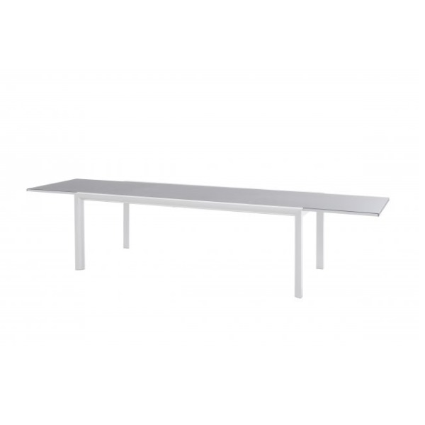 Taste Premier Table 220-340x106 White - Light Grey Glass