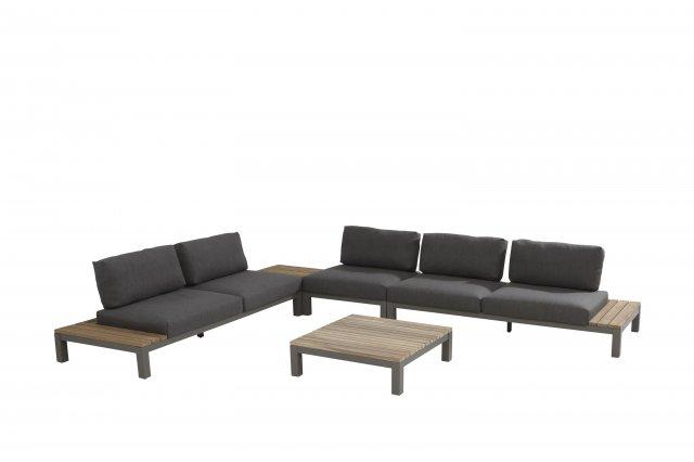 4 Seasons Fidji Modular 2 Seaters C/4 Pillows - Alum./Teak