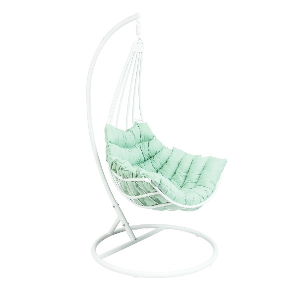C4D Roxy white Swing Chair w/ Cushion Polar Blue