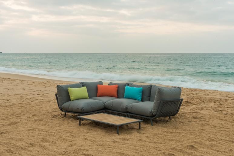 AL.Rose Beach Lounge Mid. Module - Flint / Grey