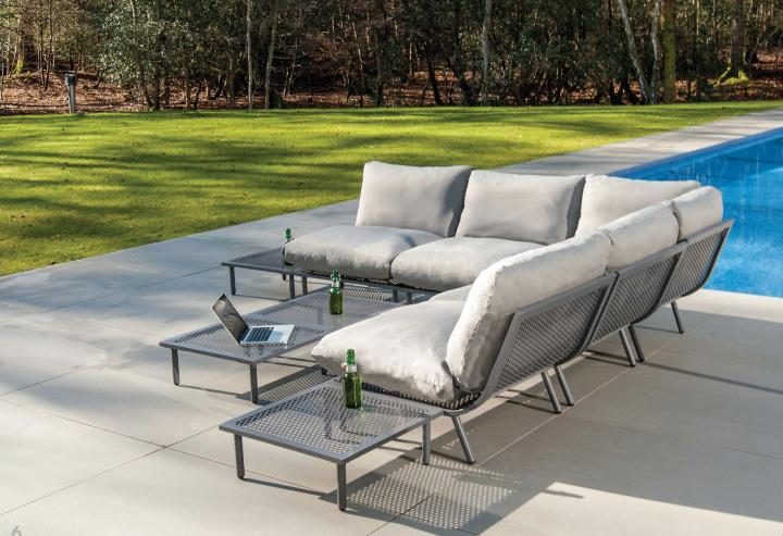 AL.Rose Beach Lounge Mesa Centro 122x70 - Flint / Alum.