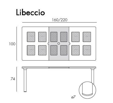Jofix Libeccio Mesa Rect. 160-220x100 Antracite