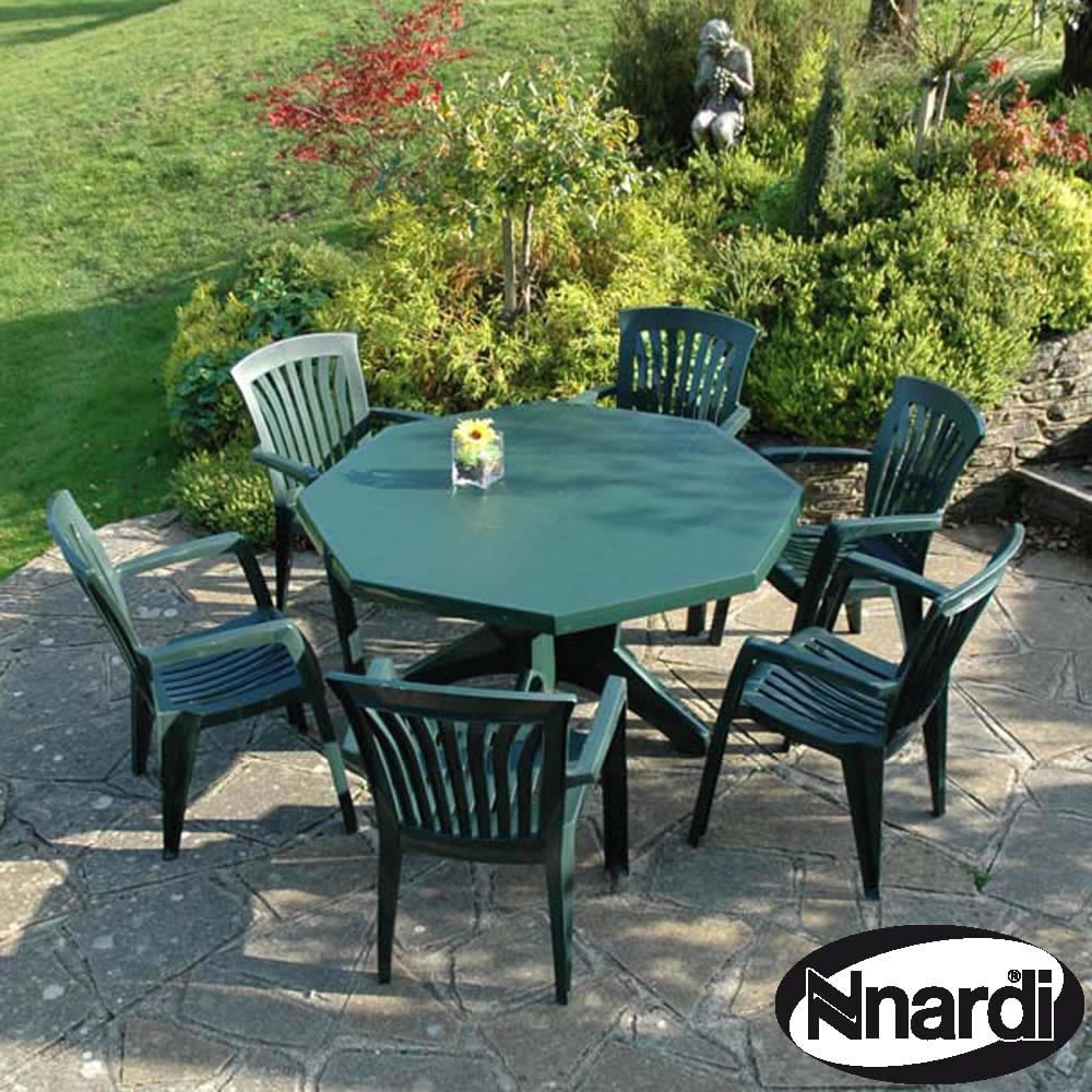 Jofix Set Olimpo Octogonal Table+ 6x Ponza Chairs - Green