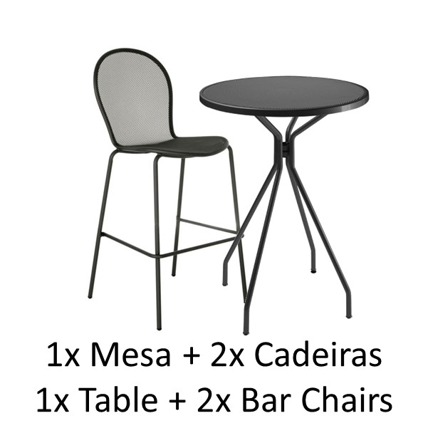 Emu Set CAMBI Bar Table 80 Rd + 2x Ronda Bar Chairs - Antrac