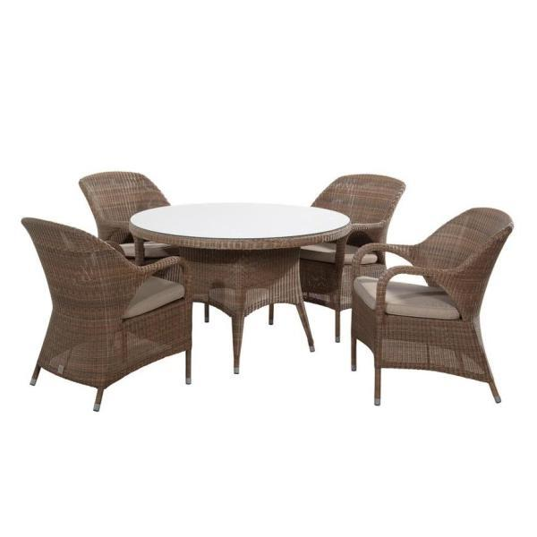 4 Seasons Sussex Set (Table Ø120 + 4x Chairs) - Poly. Taupe