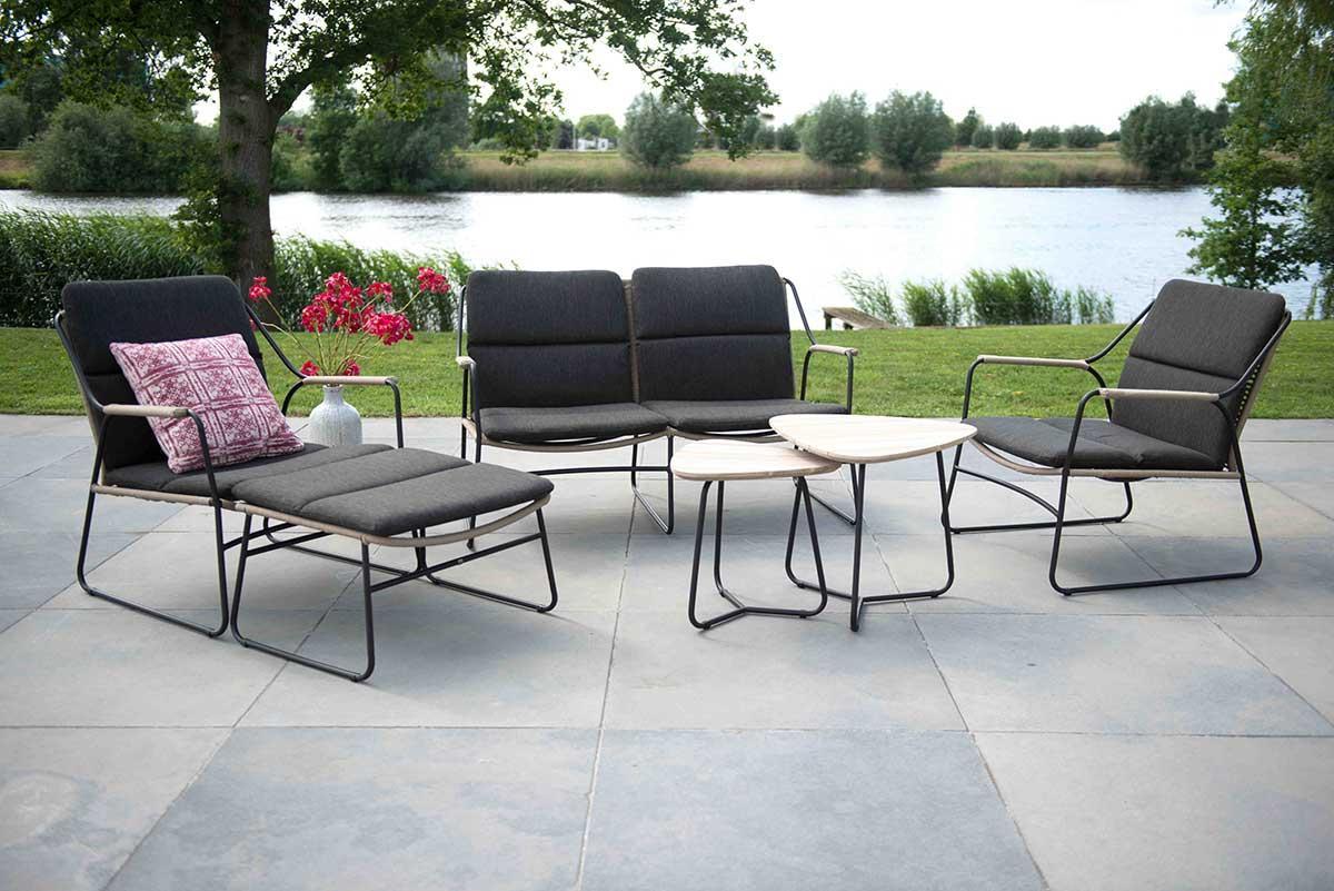 4 Seasons Axel Side Table Set - Antracite/Teak