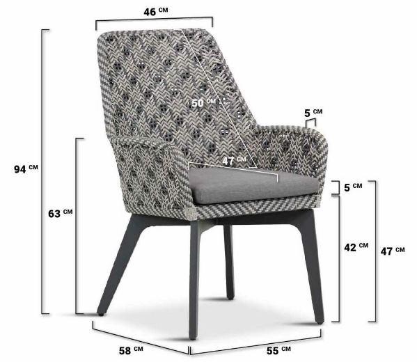4 Seasons Savoy dining chair Alu legs w/ cushion - Batic