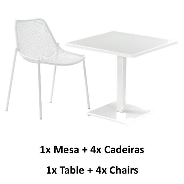 Emu Round Dinning Set - White