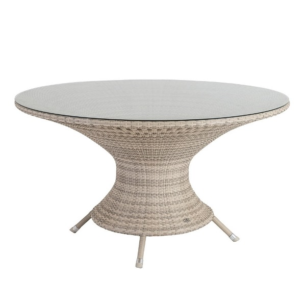 AL.Rose Ocean Fiji Table 130Ø w/glass - Pearl