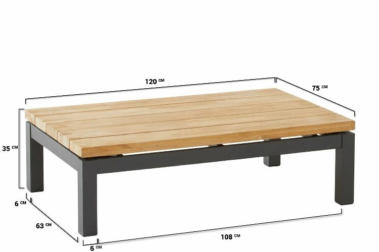 4 Seasons Capitol coffee Table 120x75x35 - Anthracite