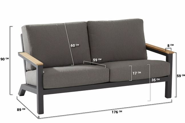 4 Seasons Capitol Sofa 2.5 Seaters with Cushion - Anthracite