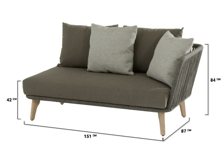 4 Seasons Santander Mod. 2 seater Left Arm w/Cushions - Rope