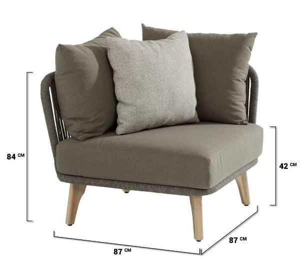 4 Seasons Santander Mod. Corner w/Cushions - Rope