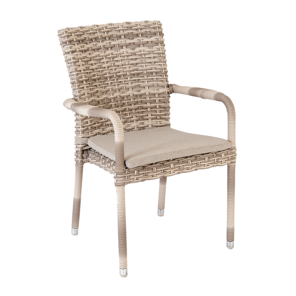 AL.Rose kool Table 150Ø + 6x Stacking Chairs - Pearl