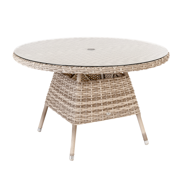 AL.Rose kool Table 120Ø + 4x Stacking Chairs - Pearl