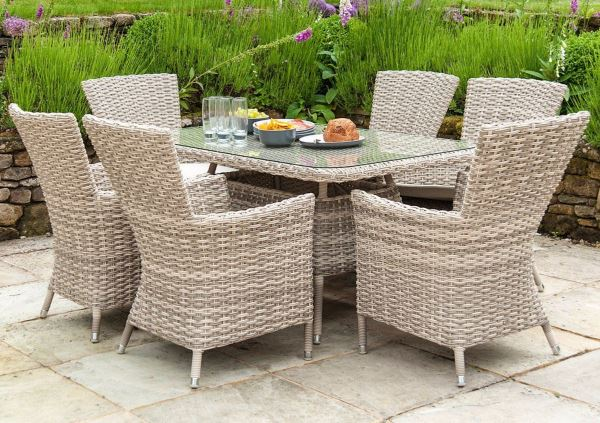AL.Rose kool Table 150x90 + 4x High Back Chairs - Pearl