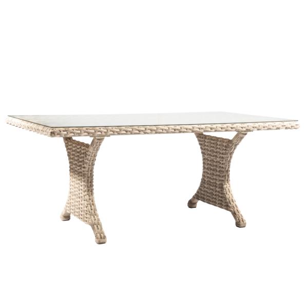 AL.Rose kool Table 180x100 + 6x Haighback Chairs - Pearl
