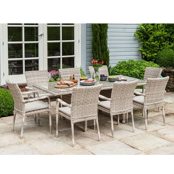 AL.Rose kool Table 180x100 + 6x Stacking Chairs - Pearl