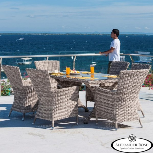 AL.Rose kool Table 180x100 + 6x High Back Chairs - Pearl