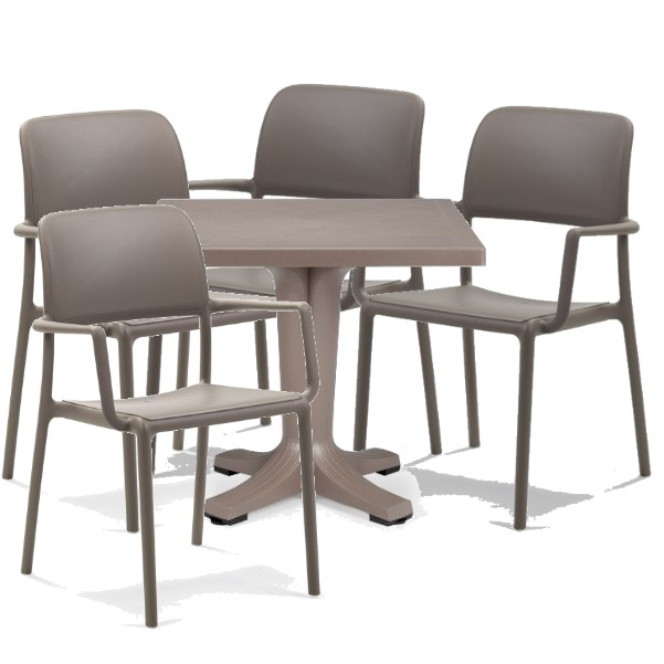 Jofix Giove Table 80x80 + 4x Riva Chairs - Tortora