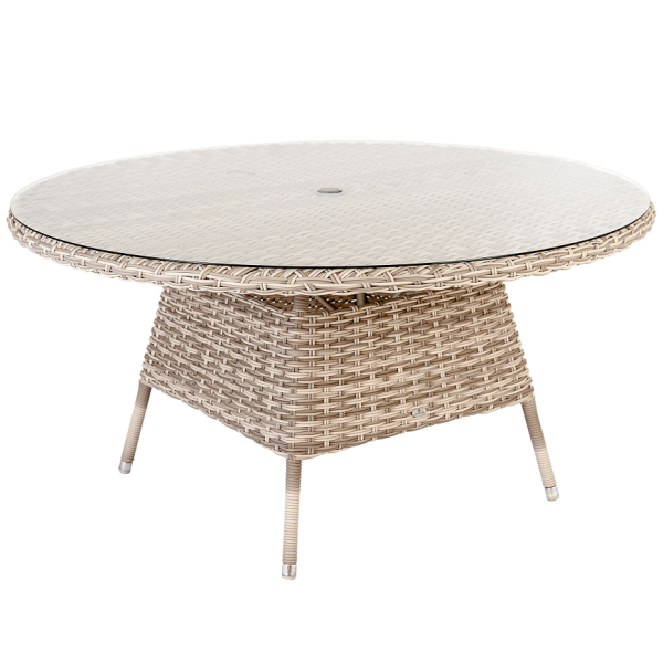 AL.Rose kool Table Ø150cm + 6x High Back Chairs - Pearl
