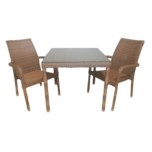 AL.Rose San Marino Table 80x80 + 2x Stackable Chair