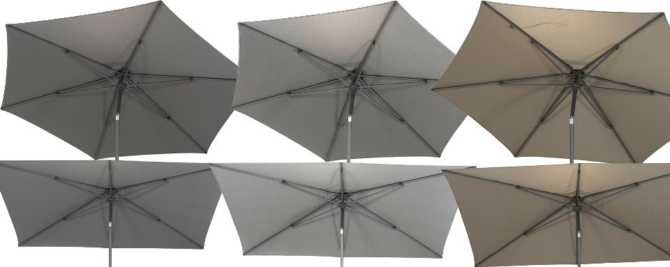 4 Seasons Azzurro Push Parasol 200x300cm - Grey