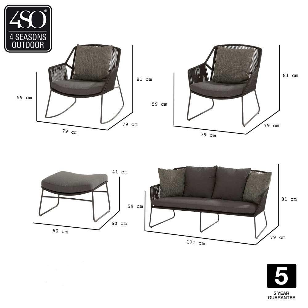 4 Seasons Accor Living Chair W/Cushions - Anthracite