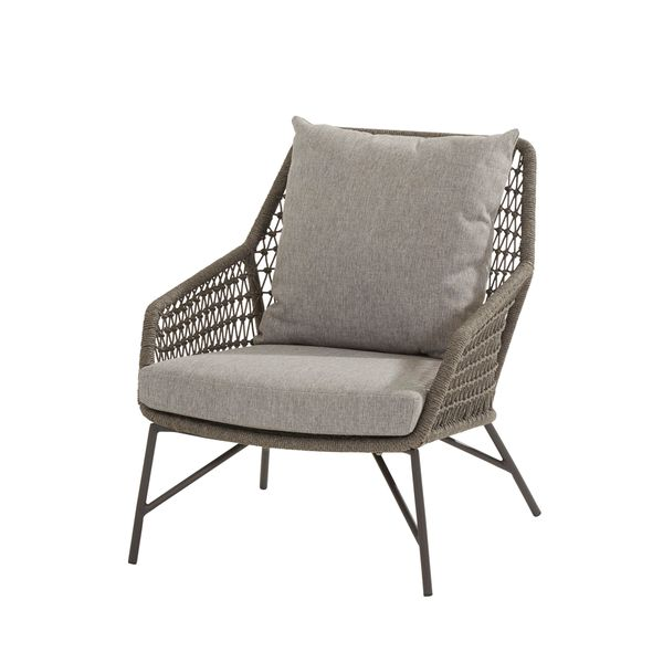4 Seasons Babylon Living Chair Knotted W/Cushions - Mid Grey