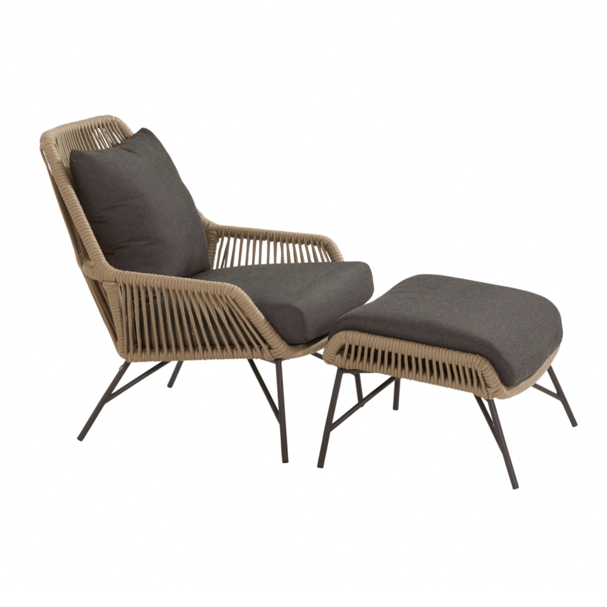 4 Seasons Ramblas Footstool W/Cushions - Taupe