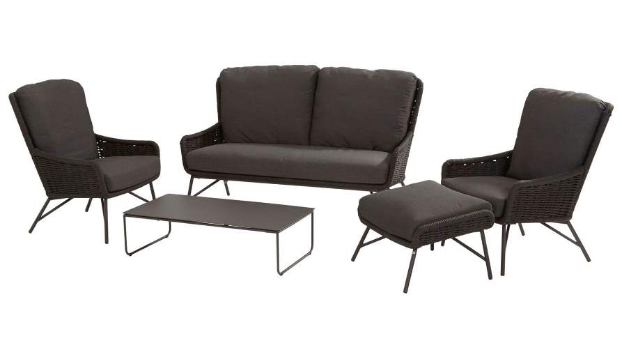 4 Seasons Wing Footstool W/Cushions - Anthracite